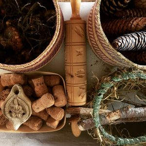 cones, corks, sticks, bulbs and other natural materials