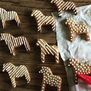 sugar cookie horses decorated with royal icing