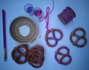 pretzels_glue_ribbon_and_glitter_for_making_decorations
